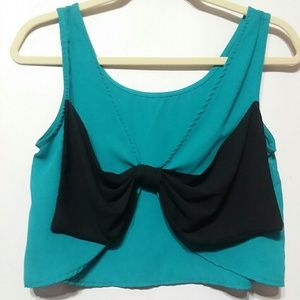 Tops - Blue Bow Back Crop Top